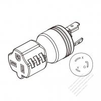 Adapter Plug, NEMA 5-15P to NEMA 5-20R, Twist Locking, 2 P