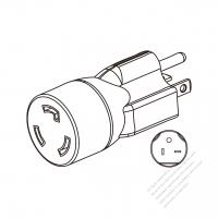 ACアダプタ・NEMA 6-15Pプラグ変換L6-15R 引掛形コネクタ・ 3 P->3 P・15A 250V
