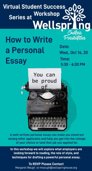 Student Success Workshop Series: How to Write a Personal Essay