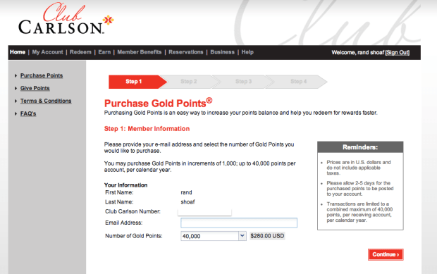 You can purchase points for .07 cents from Club Carlson