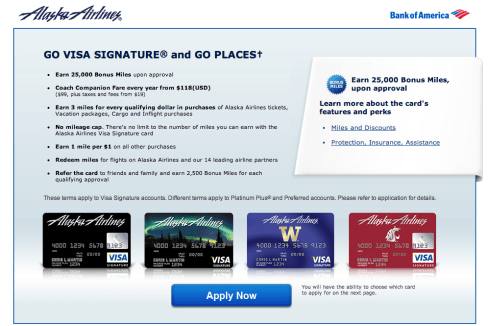 The normal offer for the Alaska Airlines Visa is 25,000 miles