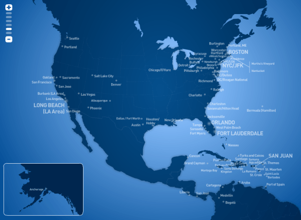 JetBlue route map