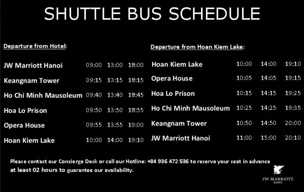 shuttle schedule hanoi jw marriott
