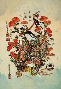 Japanese Print Art Vintage Wood Block Print on Cotton ...