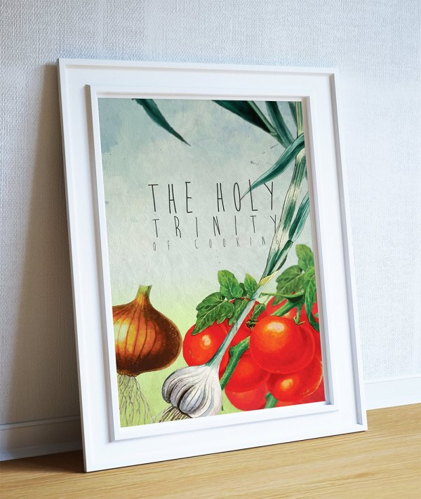 Kitchen Print Decor Holy Trinity Of Cooking Art