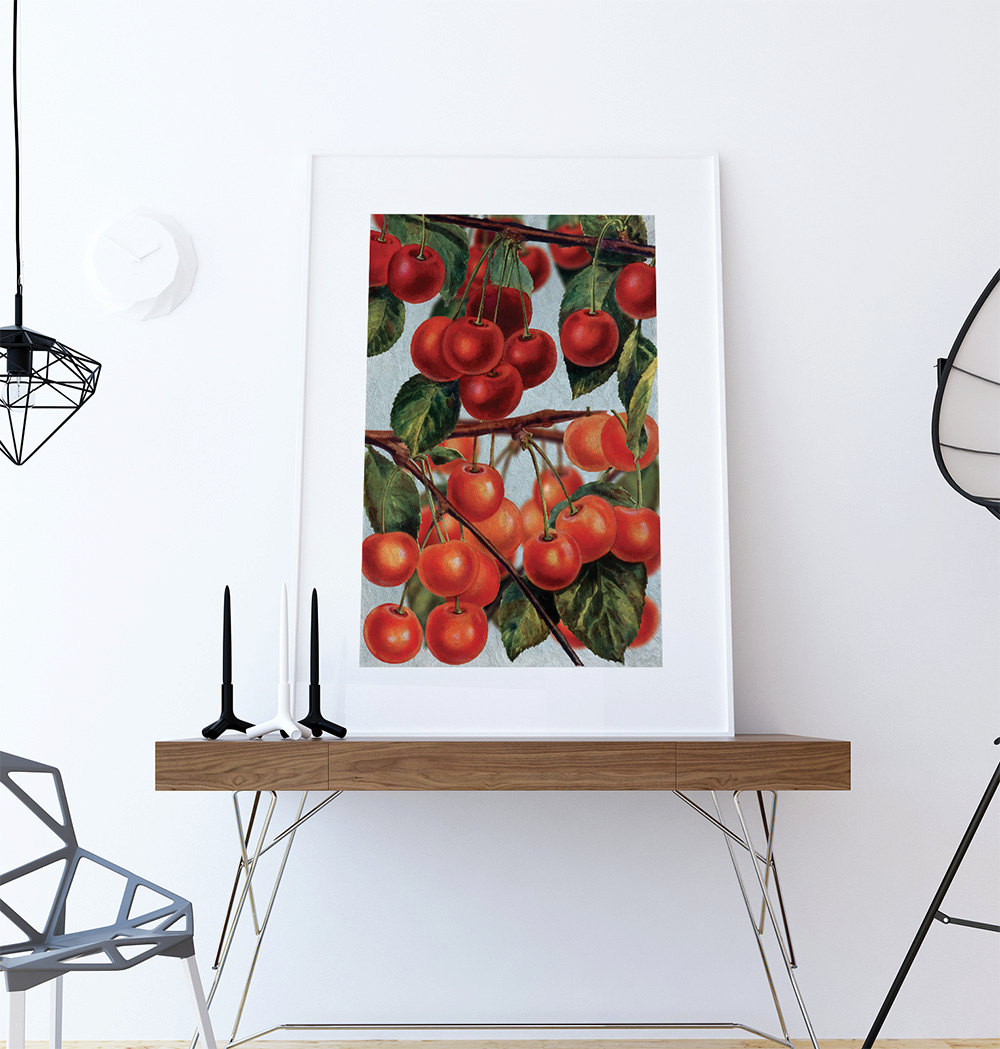 kitchen art prints unfinished chairs wall cherries print food photograph fruit