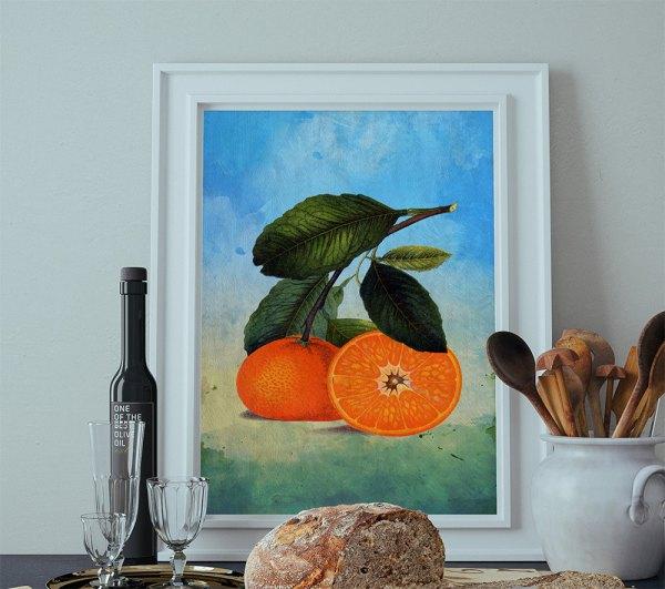 Kitchen Wall Art Oranges Print Florida Food