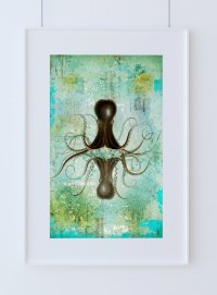 Octopus Art Print Sea Squid Vintage Nautical Decor Ocean ...
