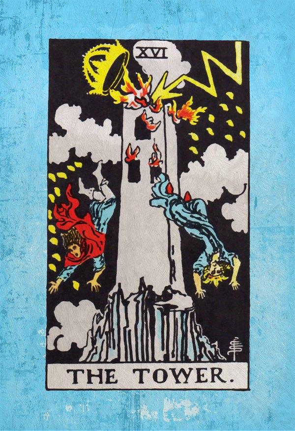 Tarot Print Tower Retro Illustration Art Rider