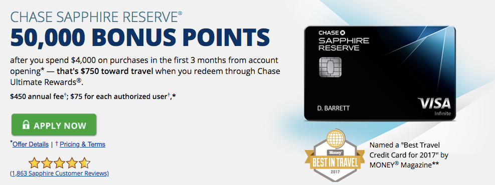 chase sapphire reserve travel card sign-up bonus