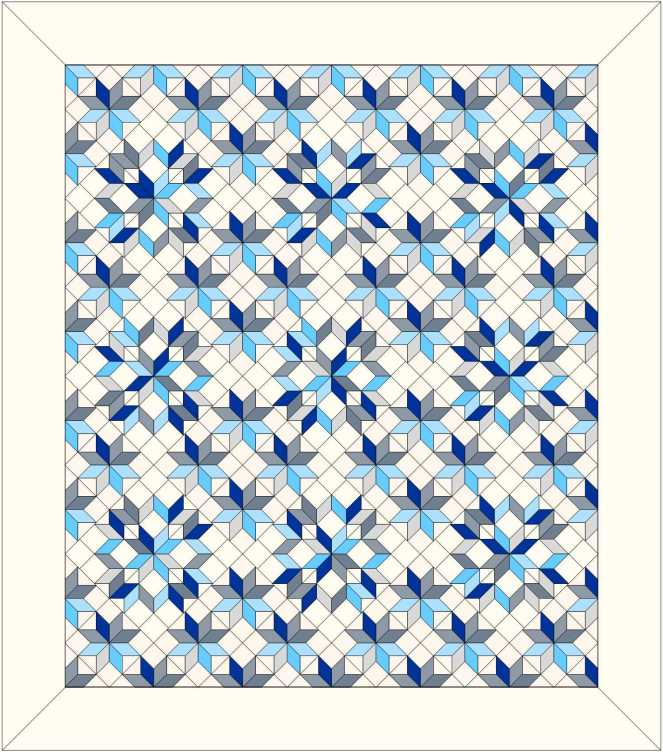 A computer-generated drawing of a quilt design of star blocks in shades of blue and grey on a cream background.