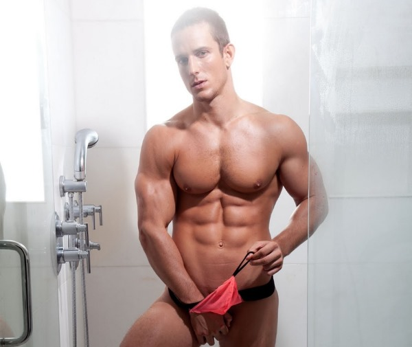 male model Jakub Stefano for McKillop Underwear shower