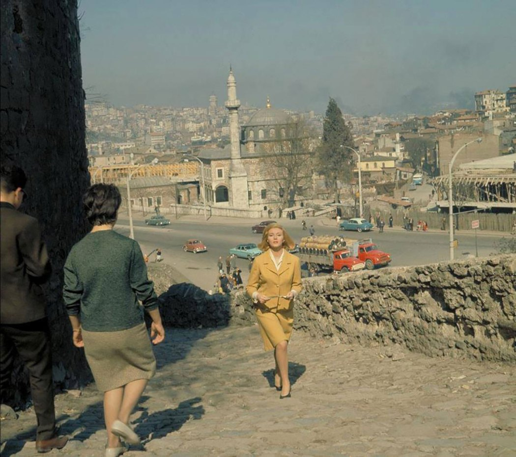 Daniela Bianchi is on the Itfaiye Street and Şepsefa Mosque is in the background at the Atatürk Boulevard