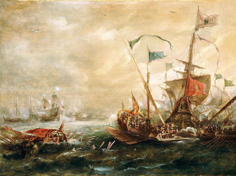 A painting of a Spanish ship fighting off Barbary Pirates