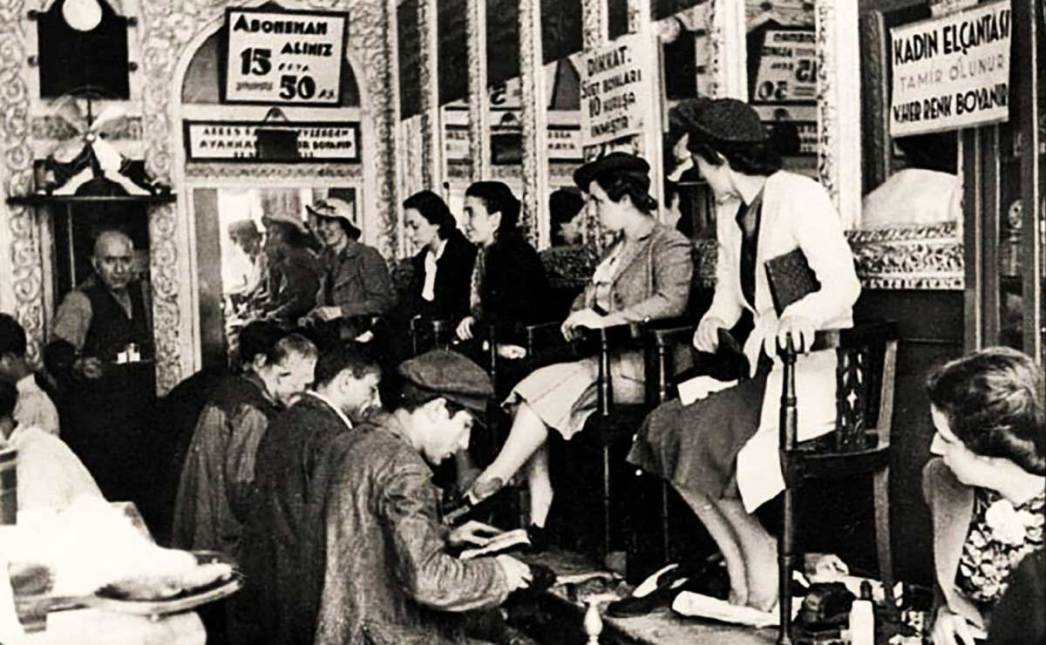 A shoeshine parlour in Istanbul in the 1930s