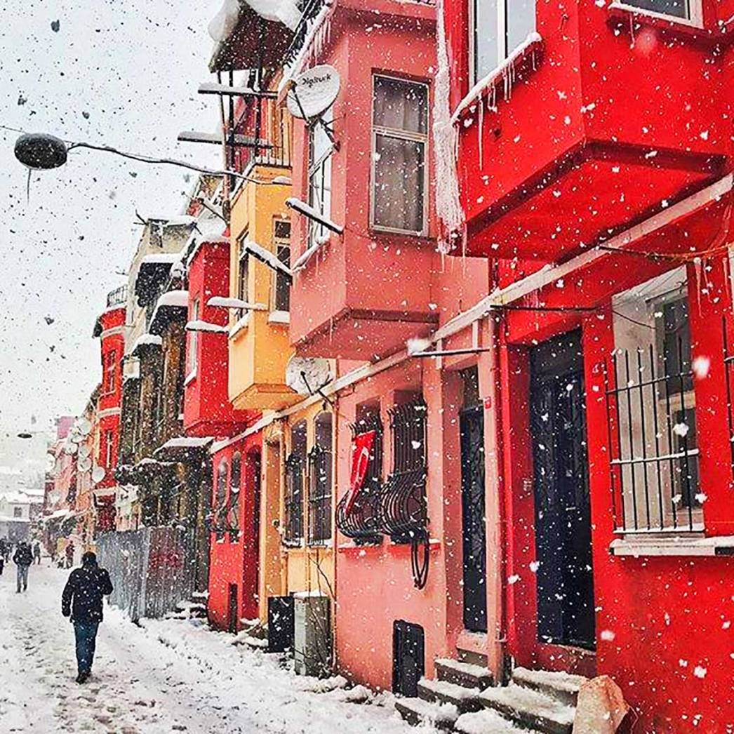 Colourful Houses Snow Istanbul
