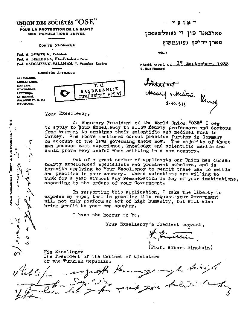 Einstein's Letter to Atatürk