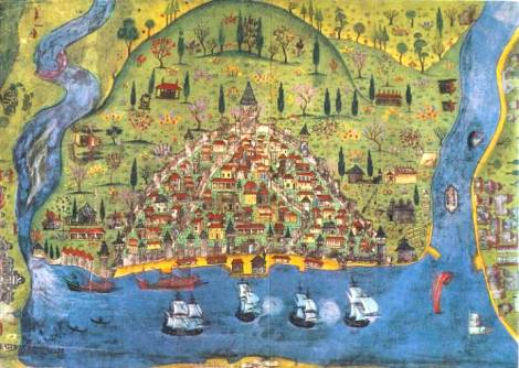 The Galata section of Istanbul during 1530s – Miniature by Matrakji Nasuh