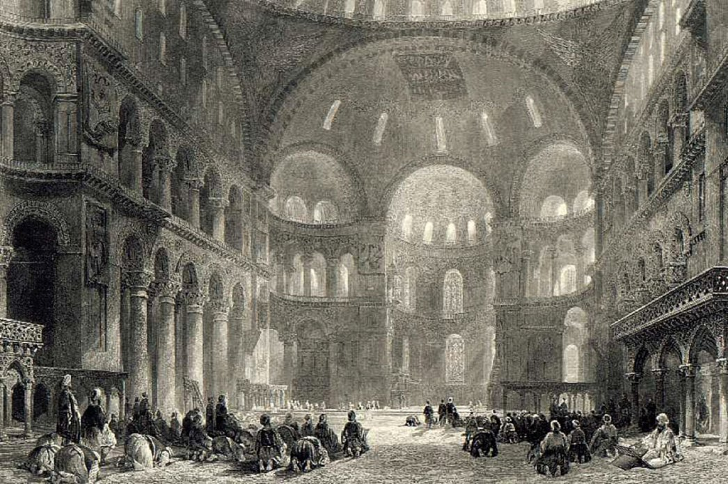 Hagia Sophia and Muslim Prayers by Thomas Allom