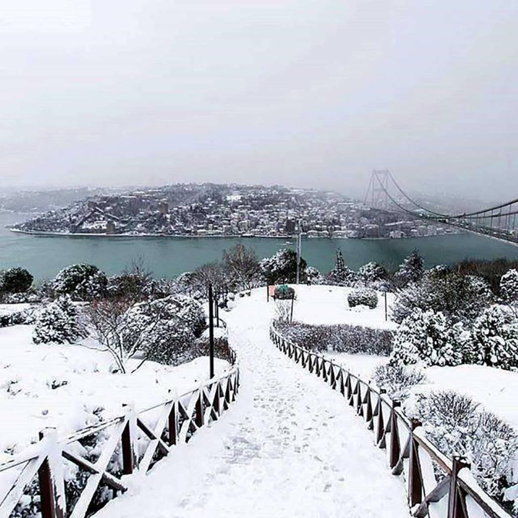 Hill Bosphorus Snow Istanbul