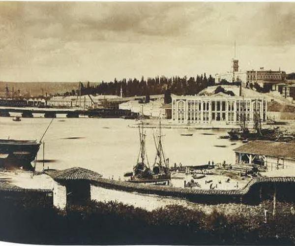 Kasımpaşa Docks and the newly built Naval Ministry, Istanbul, 1868.