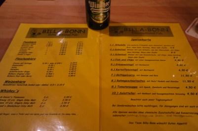 Getränkekarte Billa Bonn Pub
