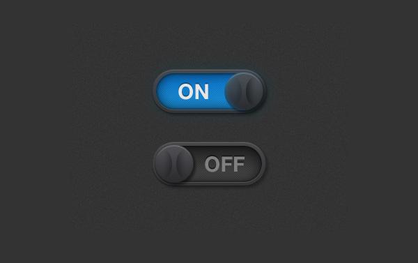 Dark Retina IOS OnOff Toggle Switches PSD WeLoveSoLo