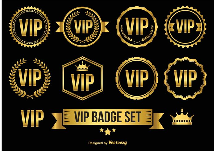 gold vip badges icons