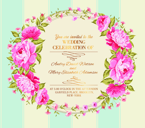 Pink Flower Frame Wedding Invitation Cards 03 Welovesolo