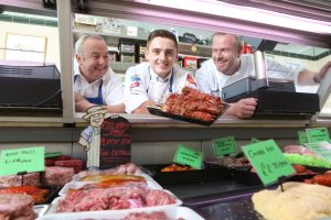 Higher Apprentice of the Year finalist, Matthew Edwards, Vaughan's Family Butchers, Penyffordd near Wrexham, with shop owner, Steve Vaughan (left) and Chris Jones of Cambrian Training, Welshpool