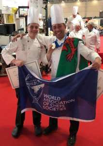 Danny Burke, pictured with his commis chef Harry Paynter-Roberts after victory in Italy.