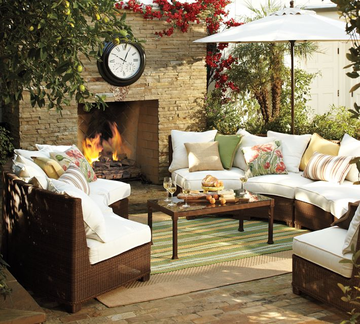 how to create the perfect backyard for entertaining, Pottery Barn outdoor seating area
