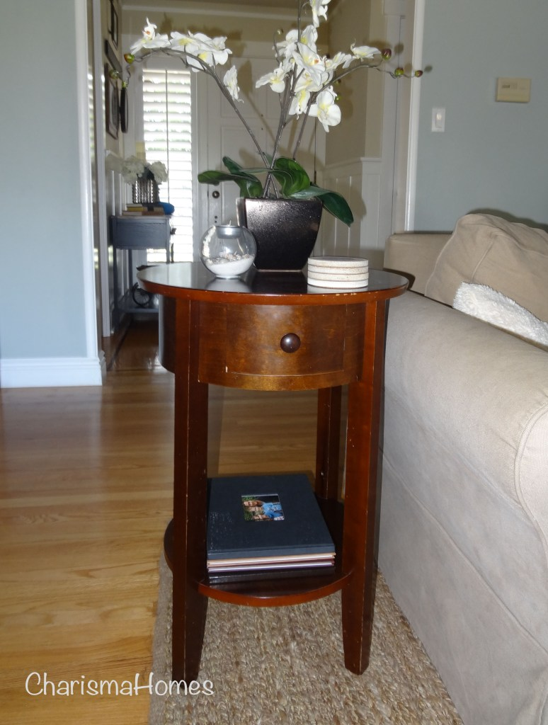 distressed side table before