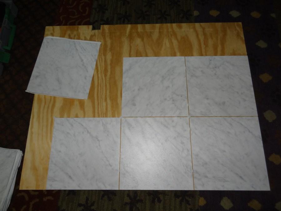 countertop made from peel and stick vinyl tiles