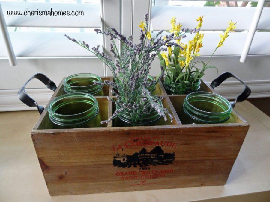 vintage wine crate and mason jar planter