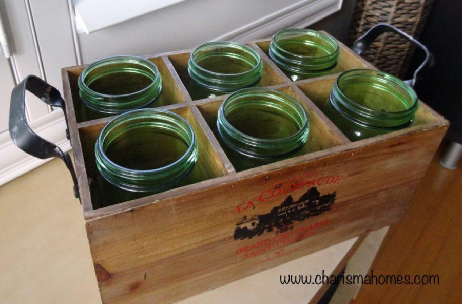 vintage wine crate with mason jars