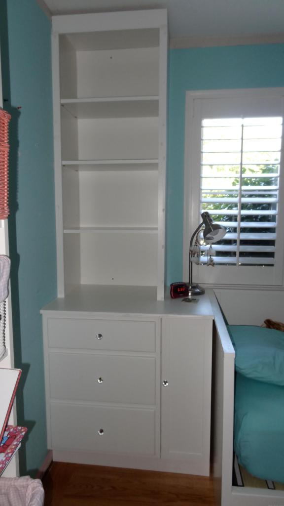 built-in drawers and bookcases girls bedroom