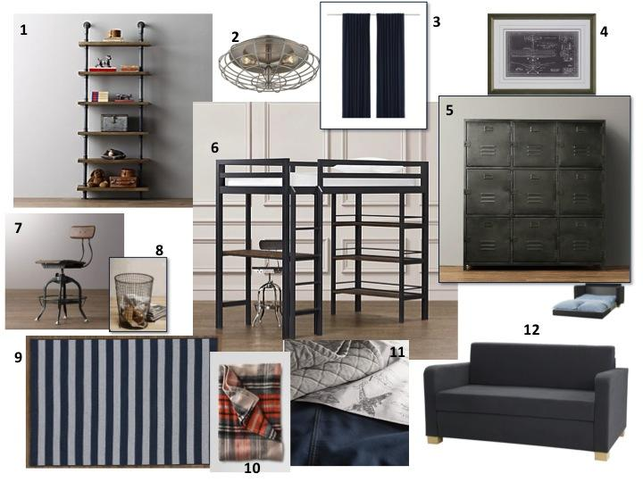 industrial boys bedroom design board ideas