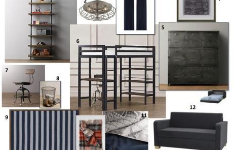 industrial boys bedroom design board ideas