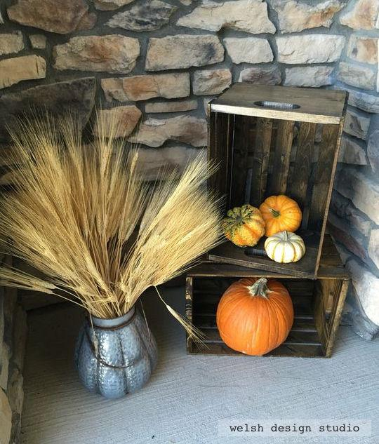 fall front porch crates with pumpkins