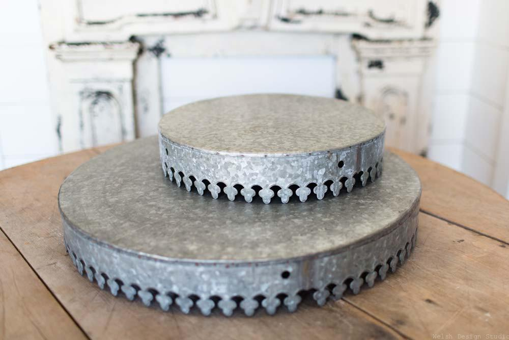 galvanized metal crown cake stand