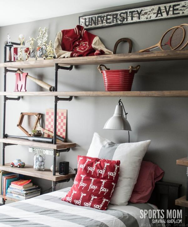 pipe shelving for industrial boys room
