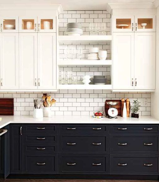 black lower cabinets with white upper cabinets