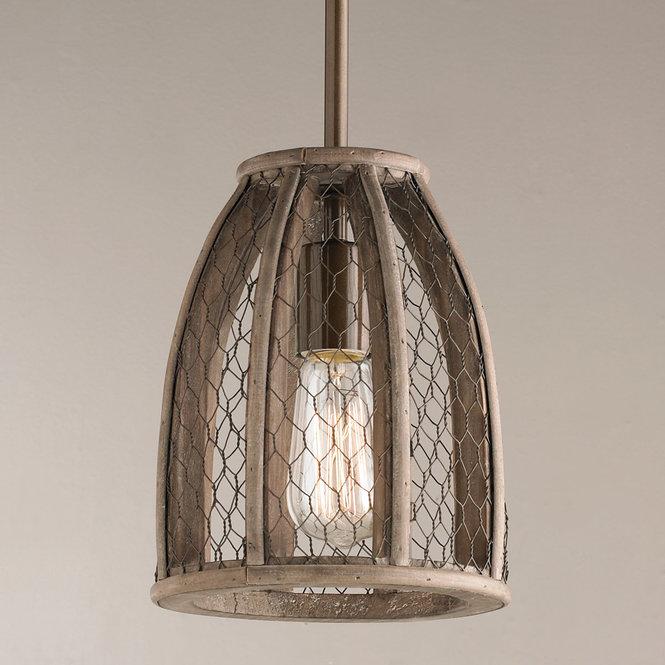 farmhouse chicken wire pendant light