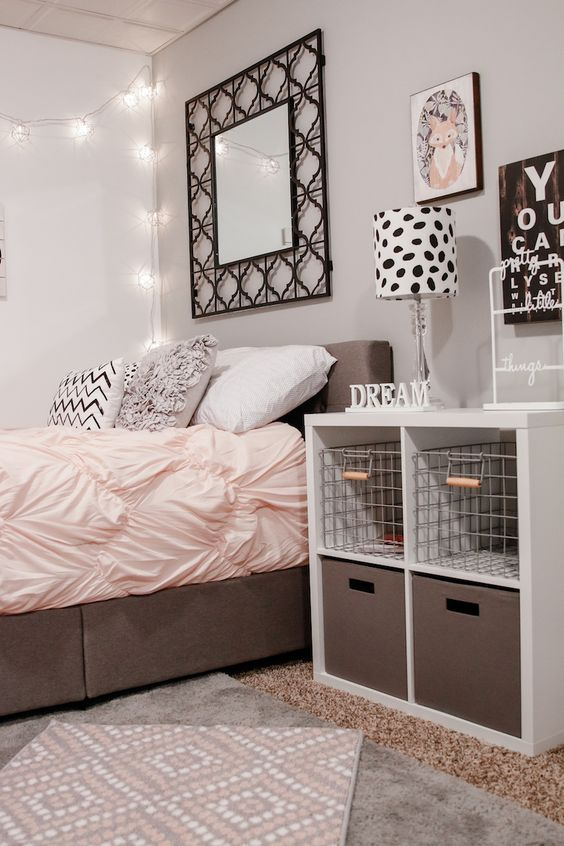 gray and pink bedroom