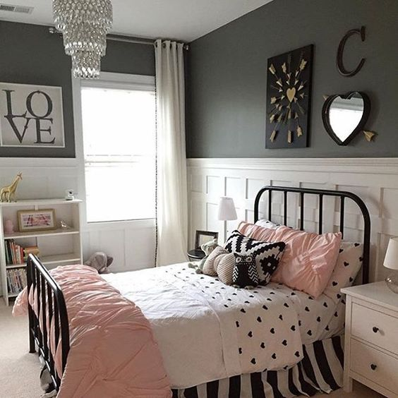 black white gray and pink bedroom