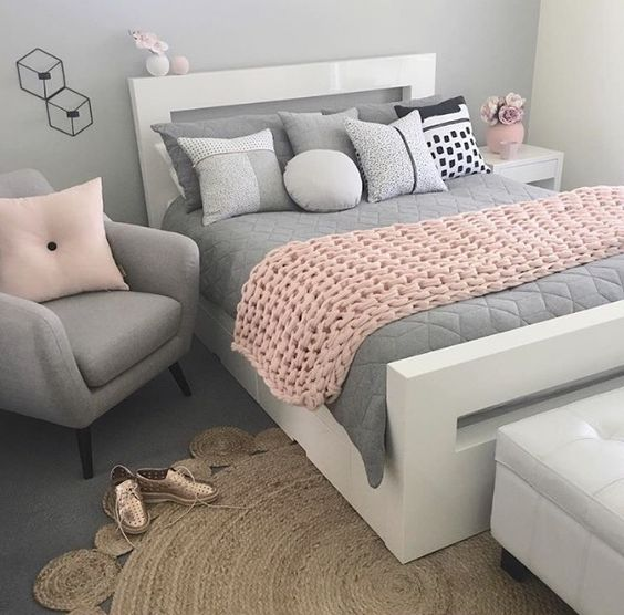 pink and gray adult bedroom