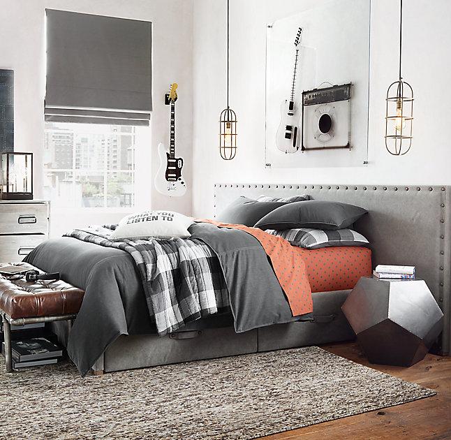 gray and orange bedroom