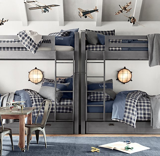 navy and gray airplane boys bedroom