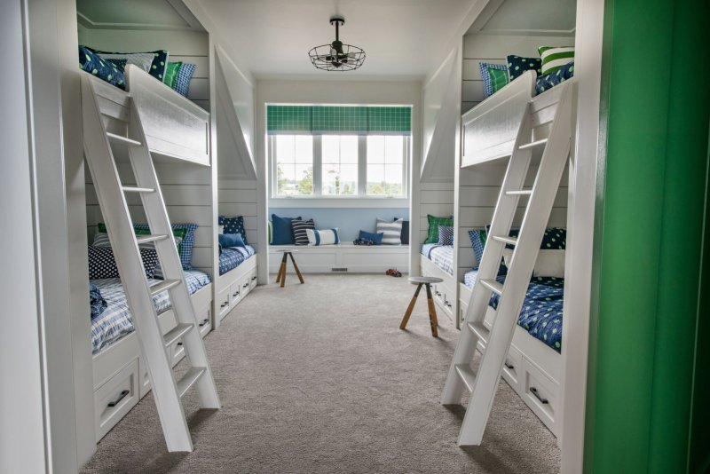 navy and green and white bunk room